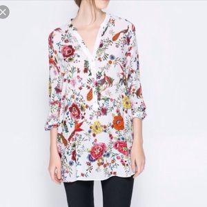 Zara Woman Floral Birds Print Tunic Top Blouse